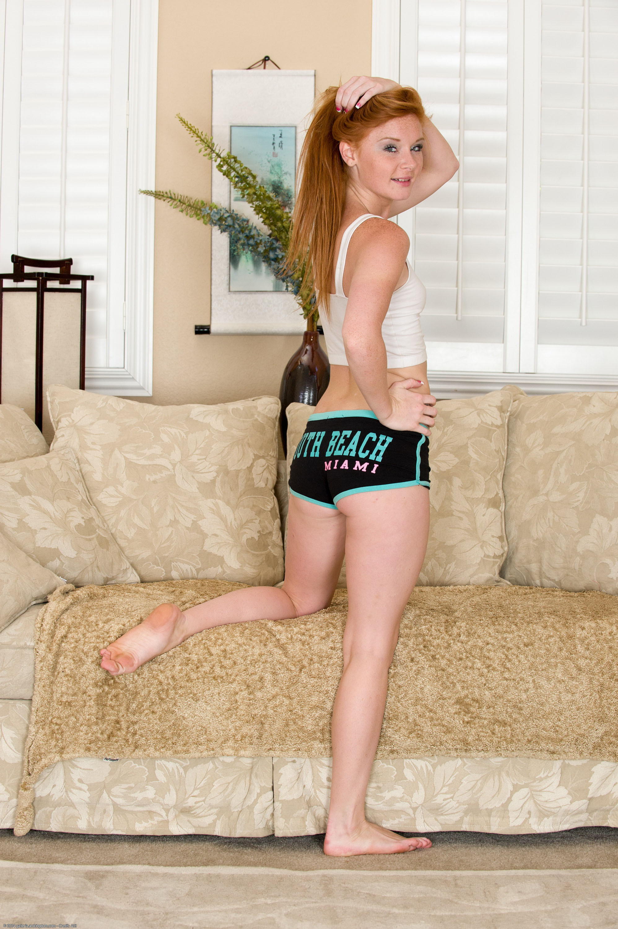 Redhead teen girl Alex Tanner flashes her tiny tits and ass against a wall № 1544291 без смс