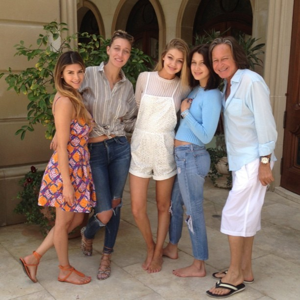 Shiva Safai with Mohamed Hadid and his daughters Bella and Gigi Hadid